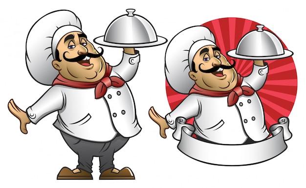 Cartone animato di chef che presenta il piatto