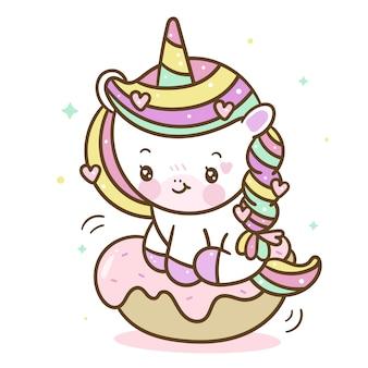 Cartone animato di ciambella unicorno kawaii