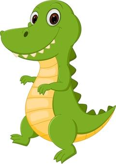 Cartone animato di coccodrillo felice