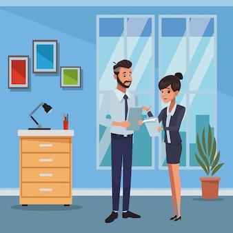 Cartone animato di colleghe business executive
