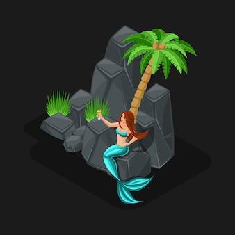 Cartone animato di concetto di gioco con personaggio fiabesco, sirena, ragazza, mare, pesce, isole, pietre, oceano, cocktail. illustrazione