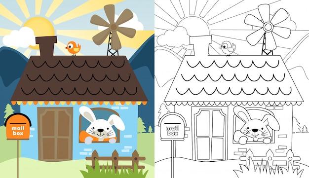 Cartone animato di coniglio in una casa