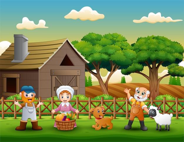Cartone animato di contadini lavoro felice nella fattoria