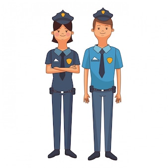 Cartone animato di coppia di polizia