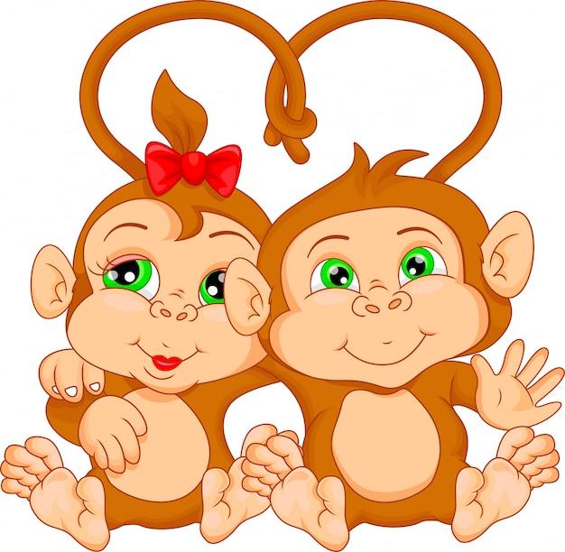 Cartone animato di coppia scimmia carino