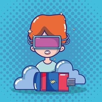 Cartone animato di cuffie da realtà virtuale