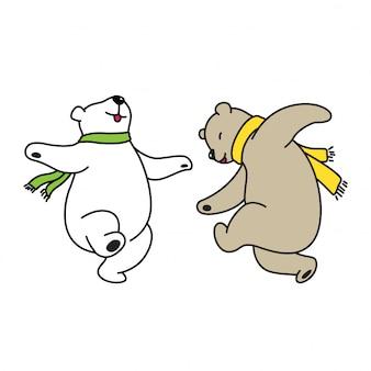 Cartone animato di danza polare vettoriale orso