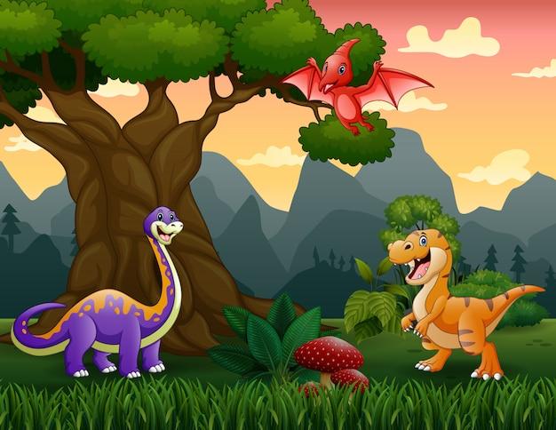 Cartone animato di dinosauri nella giungla