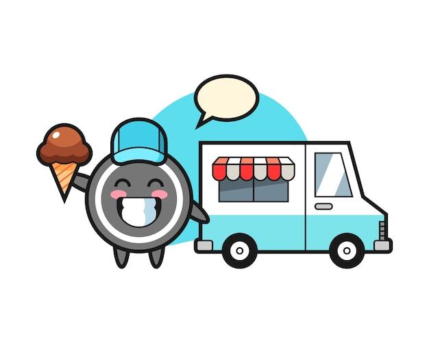 Cartone animato di disco da hockey con camion di gelati