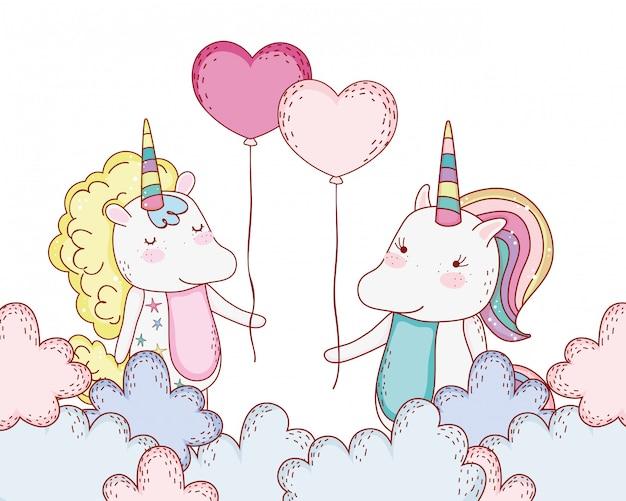 Cartone animato di disegno di fantasia di unicorni
