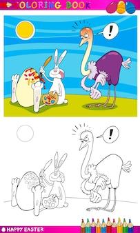 Cartone animato di easter bunny humor per la colorazione