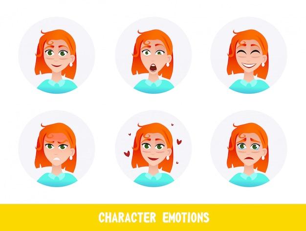 Cartone animato di emozioni carattere di iscrizione volantino.