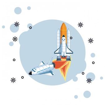 Cartone animato di esplorazione dello spazio e pianeti