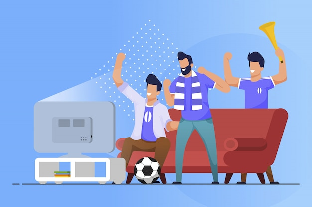 Cartone animato di fan di sport volantino pubblicitario a casa piatta