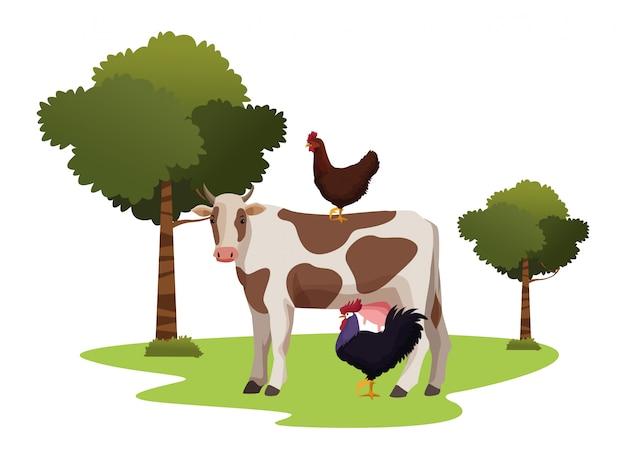 Cartone animato di fattoria, animali e contadino