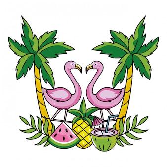 Cartone animato di fenicottero rosa estate tropicale