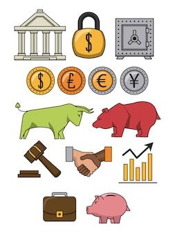 Cartone animato di finanza e commercio