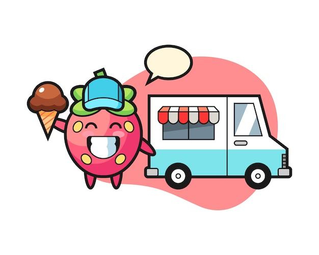 Cartone animato di fragole con camion di gelati