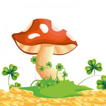 Cartone animato di funghi crudi