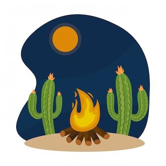 Cartone animato di fuoco di legna