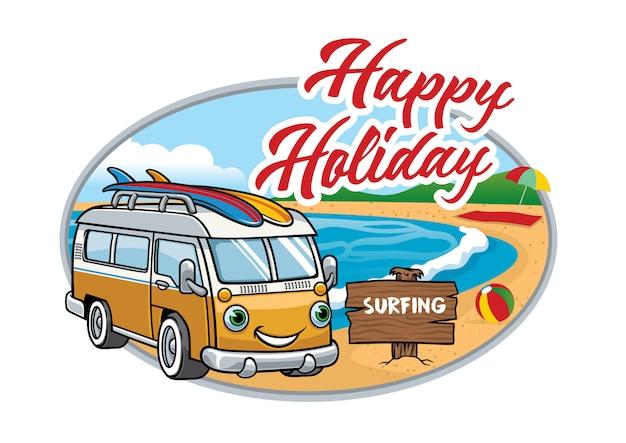 Cartone animato di furgone vintage in spiaggia