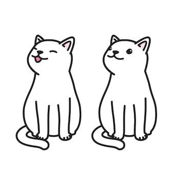 Cartone animato di gatto vettore sorriso animale domestico di gattino
