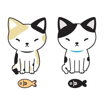 Cartone animato di gatto vettoriale gattino calico pesce