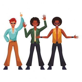 Cartone animato di gente discoteca
