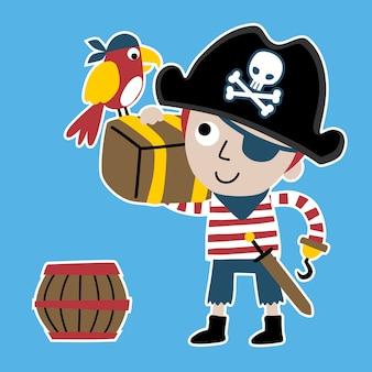 Cartone animato di giovane ragazzo con custode dei pirati