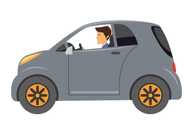 Cartone animato di giovane uomo con auto