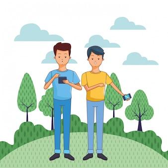 Cartone animato di giovani uomini casuali
