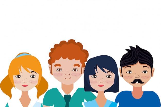 Cartone animato di giovani