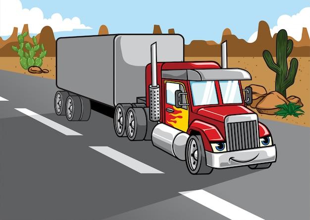 Cartone animato di grande camion carico