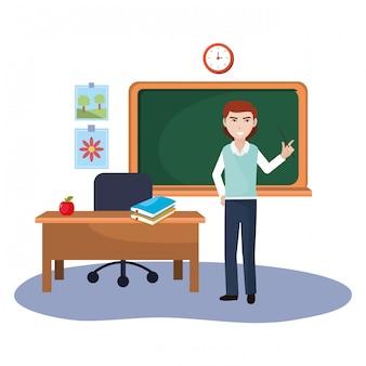 Cartone animato di insegnante di scuola uomo