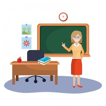 Cartone animato di insegnante donna scuola