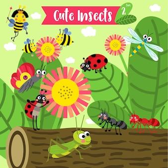 Cartone animato di insetti bug