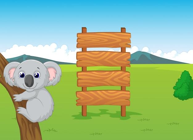 Cartone animato di koala con cartello in legno
