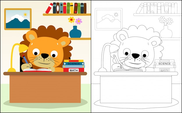 Cartone animato di leone studiando