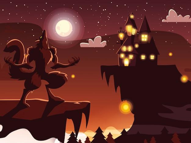 Cartone animato di lupo mannaro di halloween
