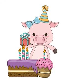 Cartone animato di maiale con icona di buon compleanno