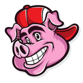 Cartone animato di maiale funky