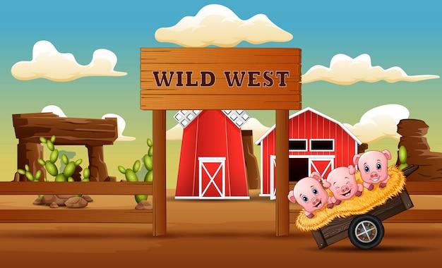Cartone animato di maiali di fronte a un cancello di fattoria selvaggio west