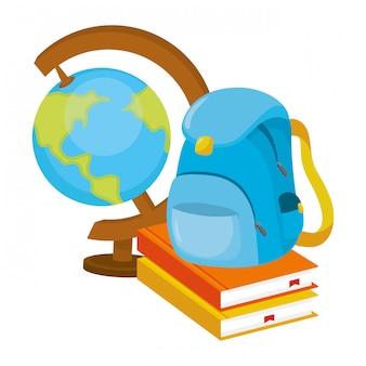 Cartone animato di mappa del mondo di scuola
