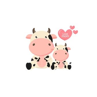 Cartone animato di mucca e bambino.