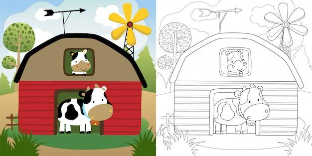 Cartone animato di mucche nel fienile