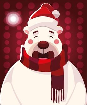 Cartone animato di natale di orso polare con cappello e sciarpa