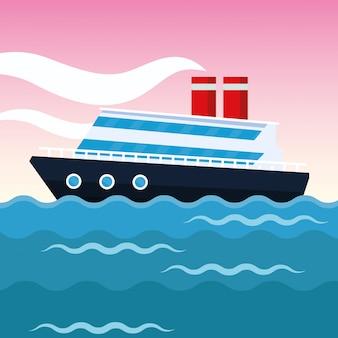 Cartone animato di nave da crociera