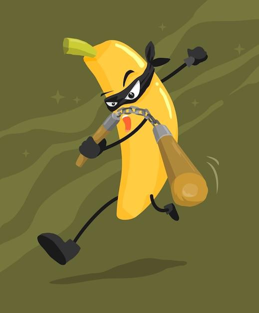 Cartone animato di ninja banana scaricare vettori premium