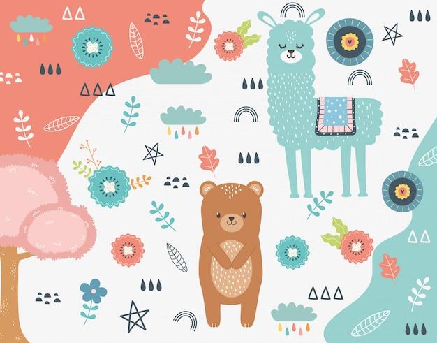 Cartone animato di orso e lama