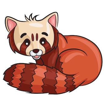 Cartone animato di panda rosso
